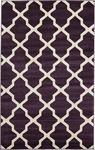 Unique Loom Trellis Collection Geometric Modern Dark Violet Area Rug 5 0 x 8 0
