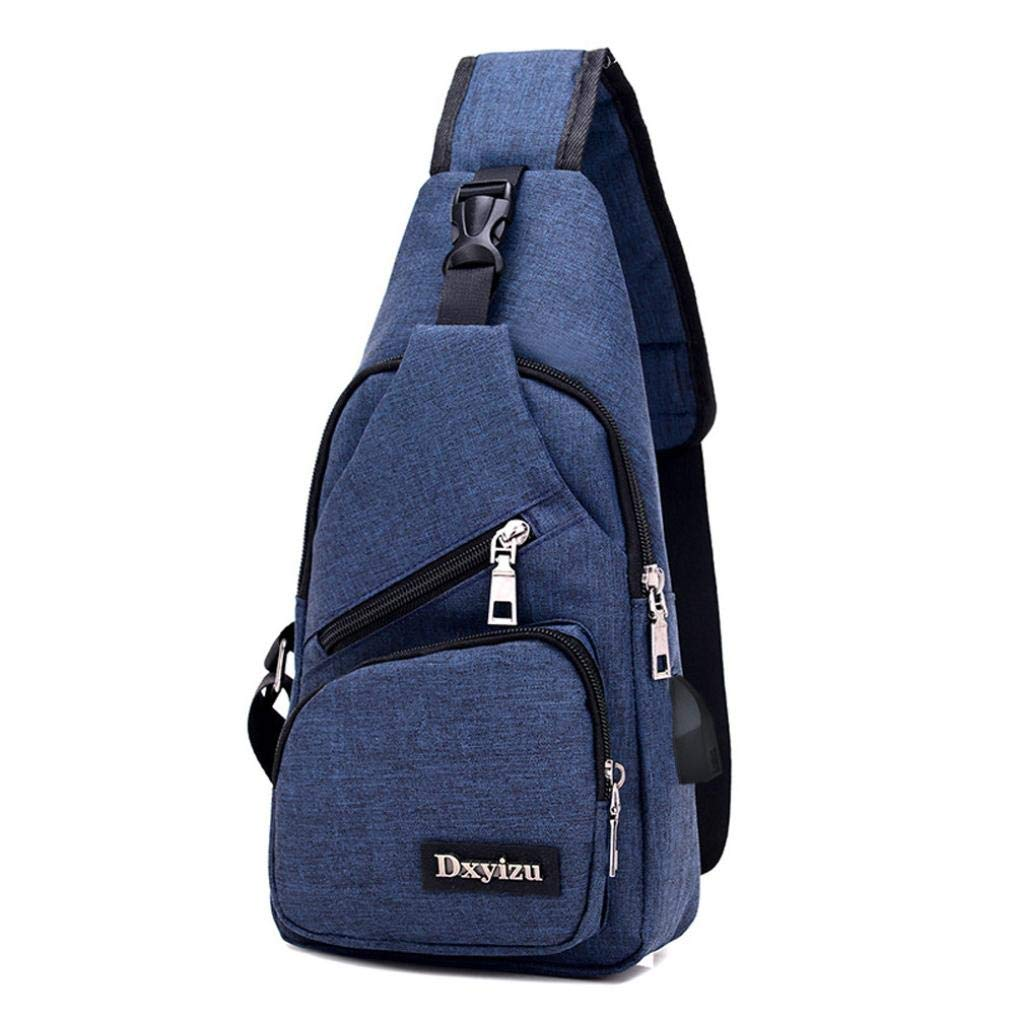 Canvas Outdoor Sports Chest Bag Unisex Lightweight Sling Backpack With USB With Charging Port (Blue) by Kimloog-bags