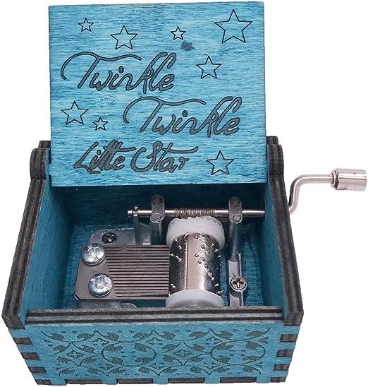 Youtang Caja de música manivela de Mano Caja Musical Tallada ...