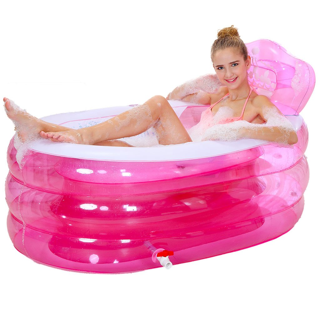 Bathtubs Freestanding Inflatable Folding with backrest tub Children's Adult tub Plastic Bath tub with air Pump (Color : Pink, Size : 1307570cm)