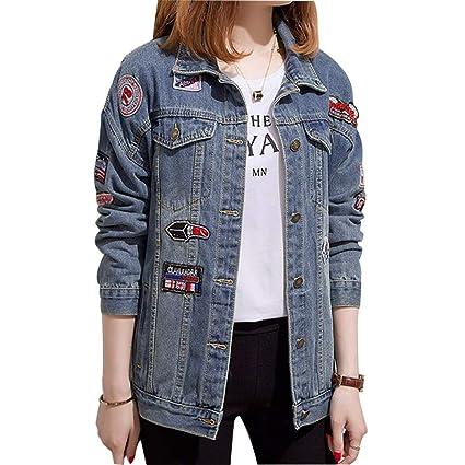 62ac601c99 Chaqueta De Mezclilla para Mujer Moda Demasiado Grande Bordado Ajuste  Holgado Parche Abrigo De Jeans Corto