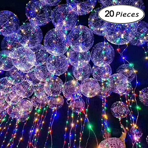 (LED Light Up Balloons,BoBo Balloon LED String Lights Party Decorative Creative Multicolor Balloons for Birthday Wedding Christmas.20 inches(20 Packs))
