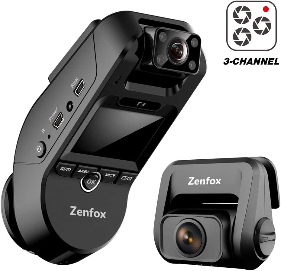 Zenfox 3 Channel Dash Cam 2K Front+1080P Interior+1080P Rear Three Way WiFi Dash Camera Infrared Night Vision, Built-in GPS, Parking Mode, Motion Detection, G-Sensor, Support 256GB Max