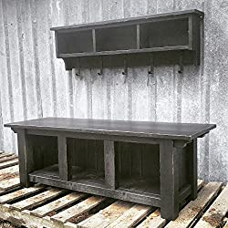 Rustic Modern Farmhouse Three Cubby Bench and Shelf Cubby Set - Distressed Black