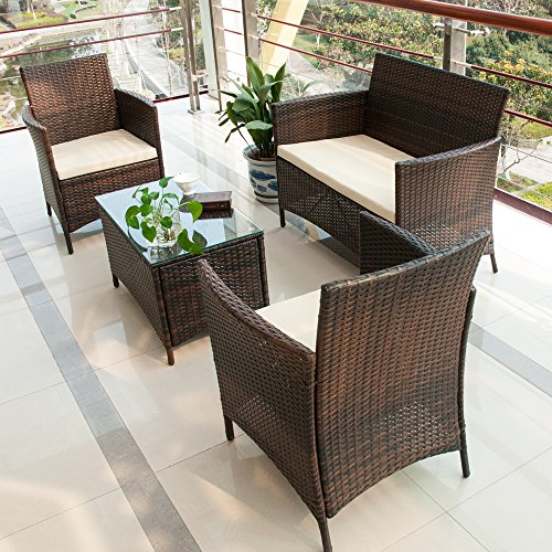 BTM Garden Furniture Sets 4 Seaters Patio Furniture Set 5 Pcs Rattan Garden  Furniture Set Coffee Table Chairs Sofa Patio Conservatory Wicker New. BTM Garden Furniture Sets 4 Seaters Patio Furniture Set 5 Pcs