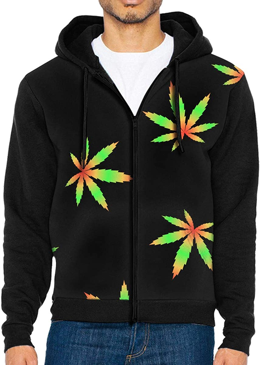 MHBGMYES Tropical Leaves Pattern Lightweight Mans Jacket with Hood Long Sleeved Zippered Outwear
