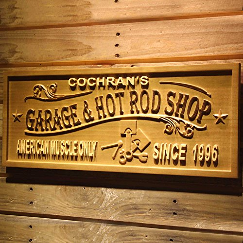 """ADVPRO wpa0408 Garage & HOT Rod Shop Name Personalized with Est. Year Wood Engraved Wooden Sign - Large 26.75"""" x 10.75"""""""