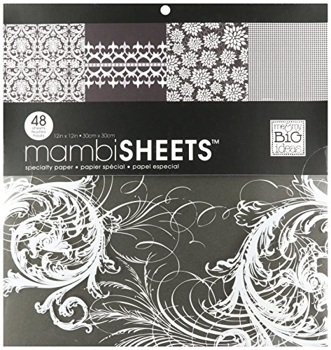 Me & My Big Ideas MAMBI Specialty Cardstock Pad 12-Inch by 12-Inch 48 Sheets, Black & White