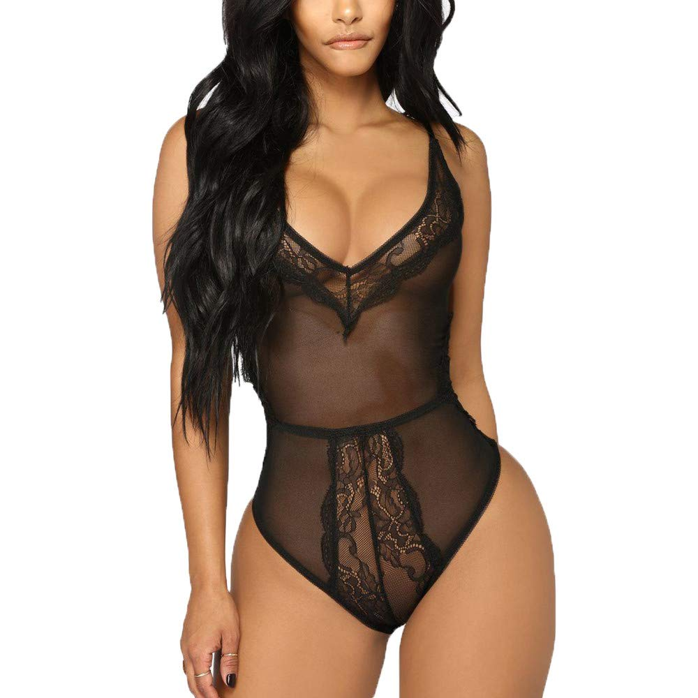 Gibobby Lady Sexy See-Through Lingerie One Piece Women Teddies Nightwear Underwear Babydoll Sleepwear Lace Dress Bodysuit Black