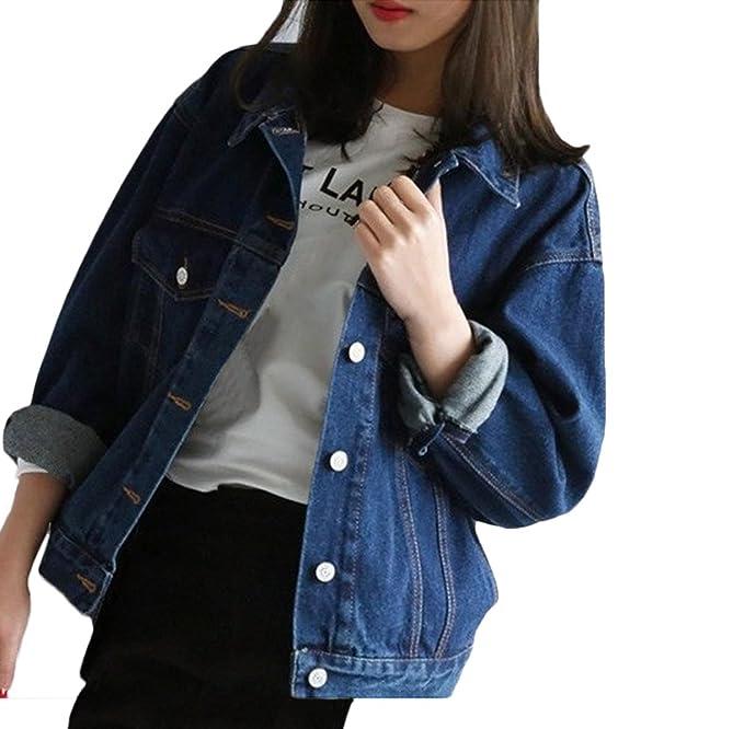 Chaquetas De Mujeres Vaqueras Azul Marino Boyfriend Otoño Fiesta Corto  Abrigos De Jeans Chaqueta Denim Tallas Grandes Elegantes Oversize Ropa De  Mezclilla ... 42c382f8b03