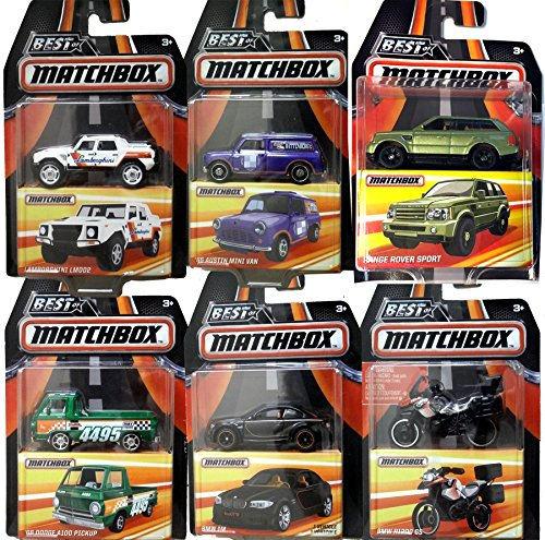 Best of Matchbox 2017 Range Rover Sport 6 cars 2016 '66 Dodge A100 Pickup Truck / BMW 1M & R1200 GS Motorcycle / Austin Mini Van / Lamborghini LM002 Off Road SUPREME Real Rubber Tires