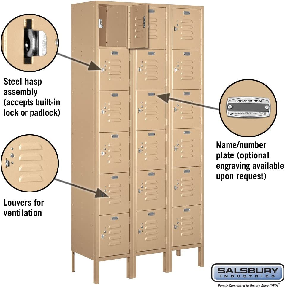 Salsbury Industries 66162TN-U Six Tier Box Style 12-Inch Wide 6-Feet High 12-Inch Deep Unassembled Standard Metal Locker Tan Brown
