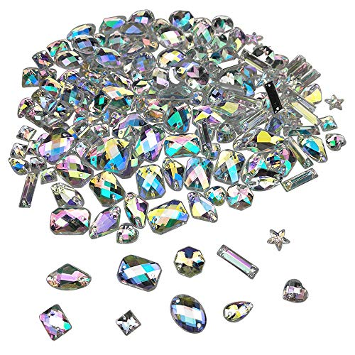 200PCS AB Acrylic Sew on Diamante Rhinestone Flatback Crystal Buttons Gems 10 Styles for DIY Crafts Clothing Wedding Dress Decoration by SkyCooool