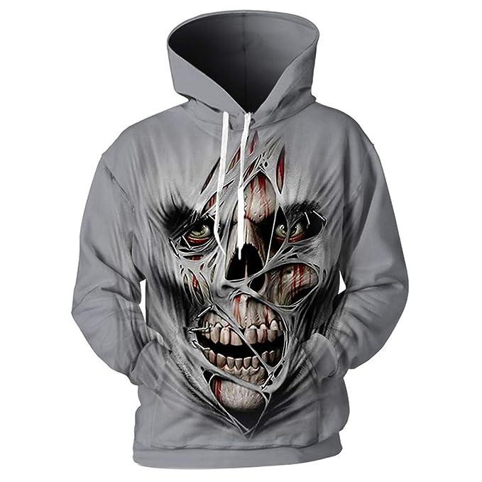 Skull Men 3D Funny Hole Face Imprimir Sudaderas con Capucha Punk Hip Hop Pullover Chándales: Amazon.es: Ropa y accesorios