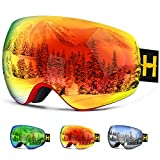 Ski Goggles- Double Lens OTG Skiing Goggles with Anti-fog and 100% UV Protection Professional Ski Snowboard Goggles for Men Women Ladies Teenager (red+frameless)