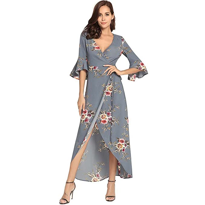 Mujer Vestidos V Vestido De Cuello Cruz Cinturón Impreso Falda Mar Alquiler De Vacaciones Vestido S