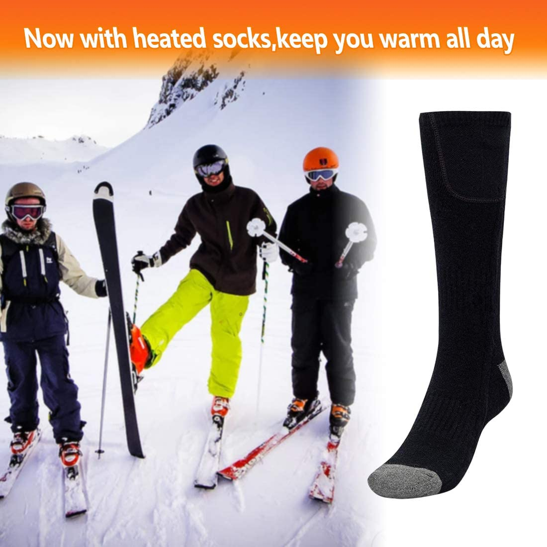 Pack of 2 Pairs MiniTeasure Electric Socks for Women/&Men Unisex Electric Heated Sock Black Color Winter feet Warmers with Rechargeable Battery