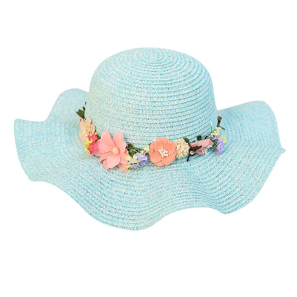 FEDULK Women Sun Beach Straw Hat Jazz Sunshade Big Wide Brim Elegant Panama Fedora Hat Wreath Cap(Sky Blue, One Size)