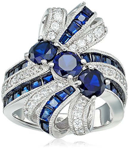 platinum plated sterling silver 3-stone created sapphire bow swarovski zirconia accents ring, size 6