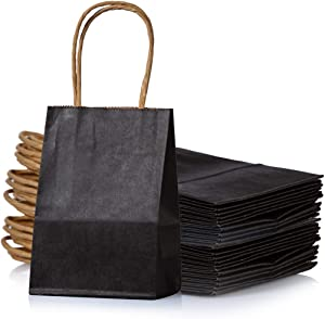 AWELL Small Black Paper Bag with Handle Party Favours Bag 6x4.5x2.5 inch for Wedding Birthday Baby Shower Recycled Bag, Pack of 24