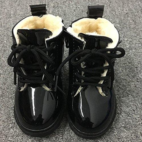 Hunpta Winter Baby jungen Mädchen Kind Leter Armee Stil Martin Stiefel warme Schuhe aus Baumwolle Schwarz