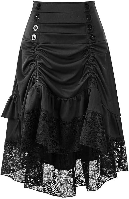 Amphia - Gothic Kleid,Damska Vintage Punk Party Spitze Patchwork Schnüren Knielang Kleid Gothic,Damska Spitze Vintage Silod Frühling Vintage Country Rock Cocktailkleid: Odzież