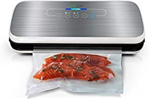 NutriChef AZPKVS18SL Vacuum Sealer With Wine Stopper Silver, 6.1 x 14.2 x 3 inches, White