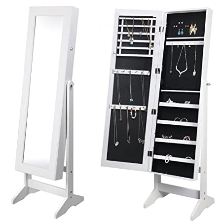 Tinkertonk Lockable Jewelry Cabinet Floor Standing Jewellery Box Cabinet  With Mirror Organizer, White