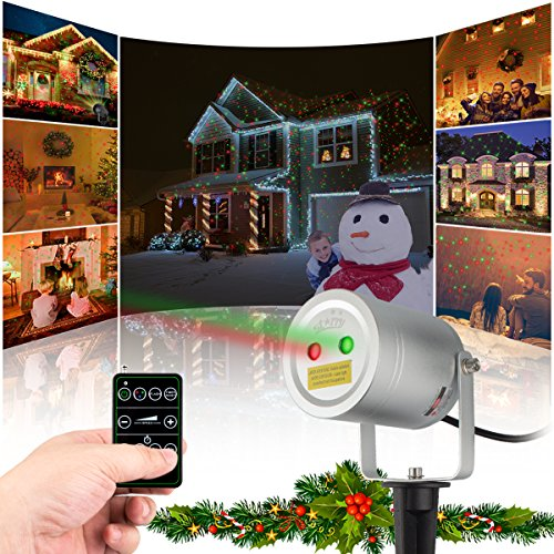 2 Color Motion Laser Light Star Projector with RF Remote Auto On/off Timer. A FDA Approved Pool Camping Garden Holiday Christmas Laser Light by Starry Laser Lights LLC