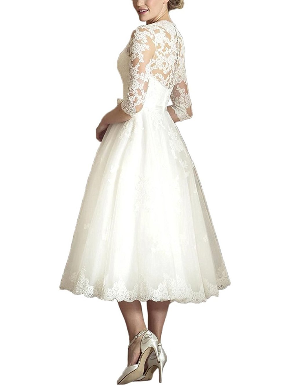 Dressyu Vintage Tea Length V Neck 3/4 Sleeve Wedding Dresses with Lace Appliques at Amazon Womens Clothing store: