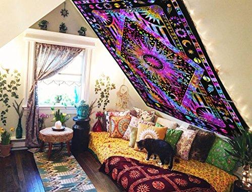 Future Handmade Tapestry Twin Mandala Handmade Cotton Celestial Sun Moon Star Tapestry Bedspread