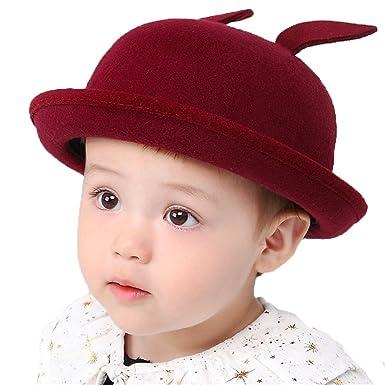 Kids Baby Girls Baby Boys Child Rabbit Ear Felt Bowler Hat Cap Red b8c7e7ba289