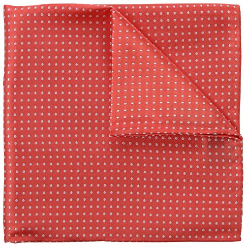 Coral Pink Pin Dot 100% Silk Pocket Square Wedding Collection in Signature Wrapping Gift Box