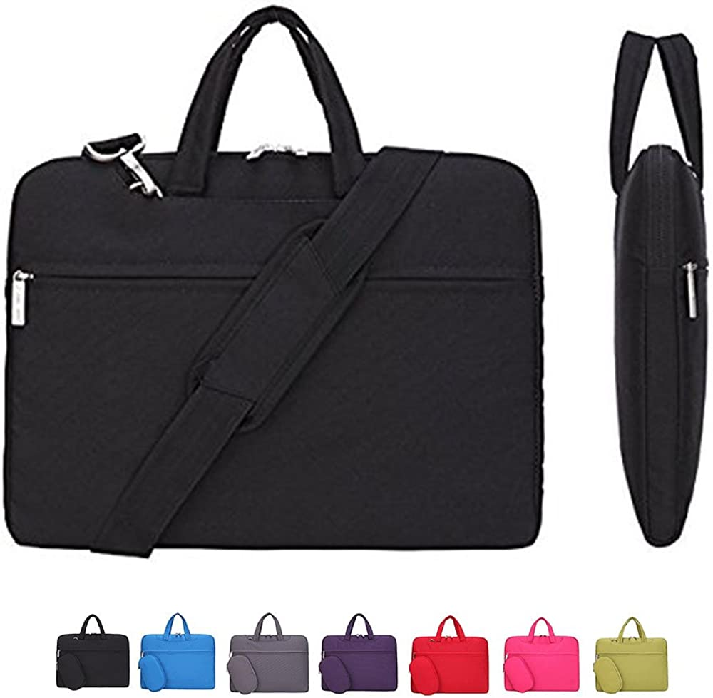 CROMI Laptop Case, Slim Briefcase Commuter Bag Business Sleeve Carrying Handle Bag Nylon Notebook Shoulder Messenger Bag