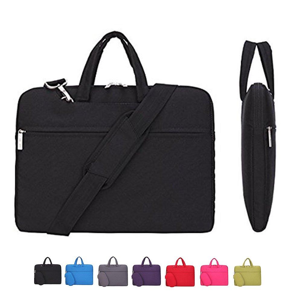 Laptop Case, Laptop Shoulder Bag, CROMI Simplicity Slim Lightweight Briefcase Commuter Bag Business Sleeve Carry Hand Bag Nylon Waterproof Notebook Shoulder Messenger Bag (Black, 14 inch)