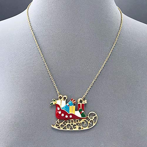Gold Finished Multi Colored Sleigh Shape Christmas Theme Pendant Necklace LL-2006