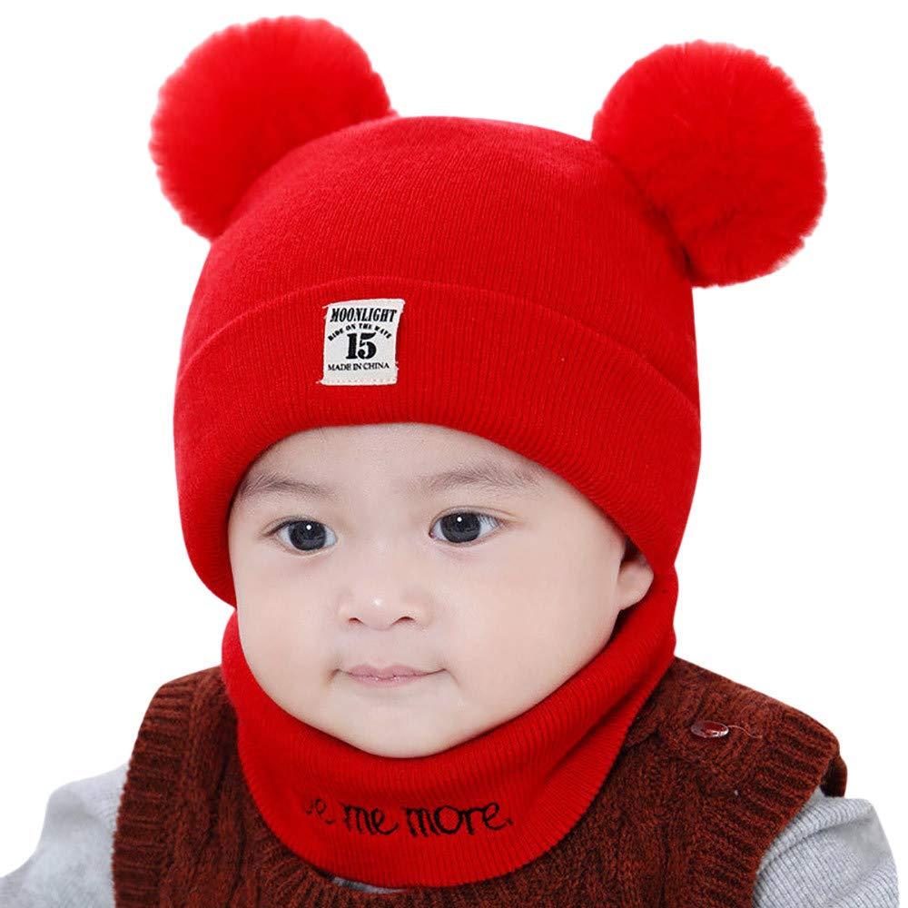 Amyline Newborn Kids Winter Baby Hats,Toddler Winter Hat Scarf Set, Baby Warm Knit Hat Scarves, Baby Toddler Winter Hat Scarf Set Warm Cap 0-12 Months