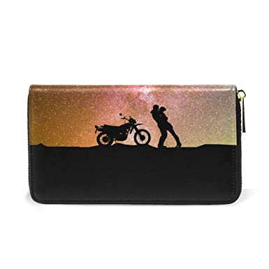 24d0fedabf36dd Image Unavailable. Image not available for. Color: Astronomy Love Genuine  Leather Girl Zipper Wallets Clutch Coin Phone for Women