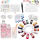 Frenshion 400ML Mix 3:1 Weight 2.5:1 Volume AB Crystal Clear Epoxy Resin UV Glue 3 Pcs Clear Plastic Cup Nail Art Tools For DIY Home Professional Handcraft Jewelry Earrings Necklace Bracelet