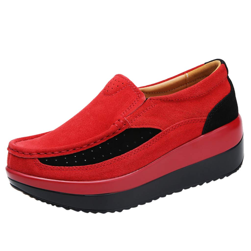 Shusuen Loafers Cloth Oxford Slip On Walking Flats Anti-Skid Boat Shoes Wedge Sneakers Red by Shusuen_shoes
