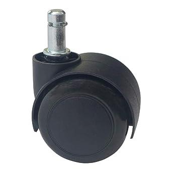 5 Ruedas giratorias de Poliuretano Negro para Silla de Oficina (50 mm de diámetro)