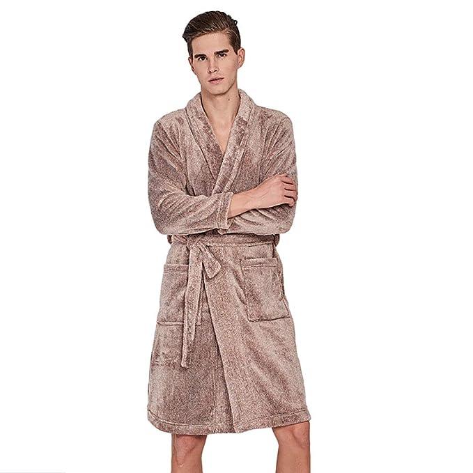 Albornoz para Hombre, Bata, Engrosamiento De Franela, Pijamas (1Pcs): Amazon.es: Ropa y accesorios