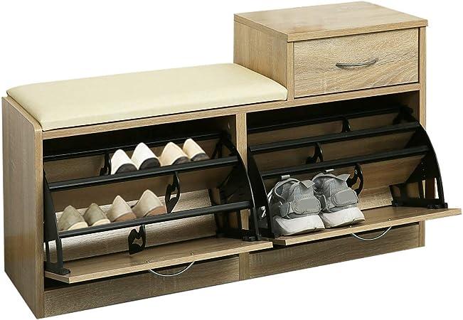 Orolay Banc Meuble A Chaussures 2 Abattants Avec Coussin Et 2 Tiroir Rangement Armoire Coffre A Chaussures Natural Amazon Fr Cuisine Maison