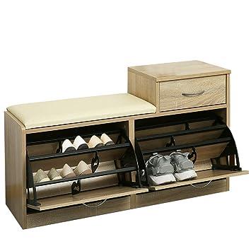 ce497844d01d83 Orolay Banc Meuble à Chaussures 2 abattants avec Coussin et 2 tiroir  Rangement Armoire Coffre