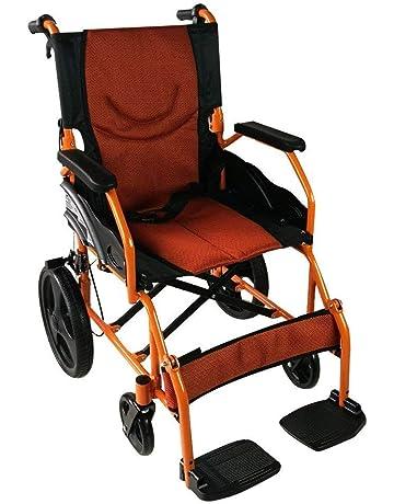 Silla de ruedas ligera | reposapiés, respaldo y reposabrazos acolchados | naranja | Aluminio |