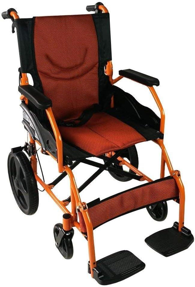 Mobiclinic, Modelo Pirámide, Silla de ruedas ortopédica, asiento de 46 cm, para minuválidos, plegable, de aluminio, freno en manetas, reposapiés, reposabrazos, color naranja