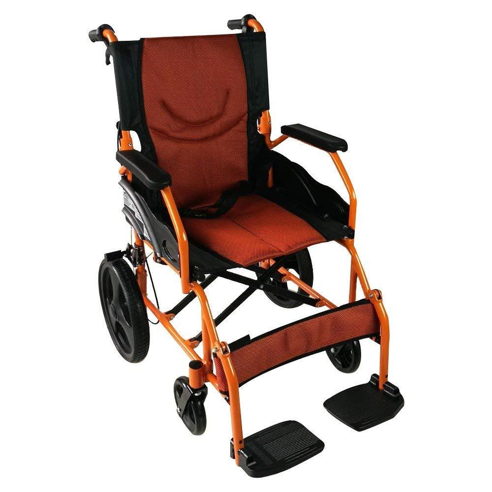 Silla de ruedas ligera | reposapiés, respaldo y reposabrazos acolchados | naranja | Aluminio | Pirámide | Mobiclinic: Amazon.es: Salud y cuidado personal