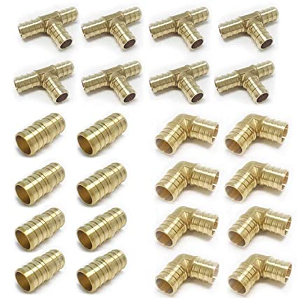 """Elbows and couplers 10 Each for Pex 1//2/"""" brass Tees"""
