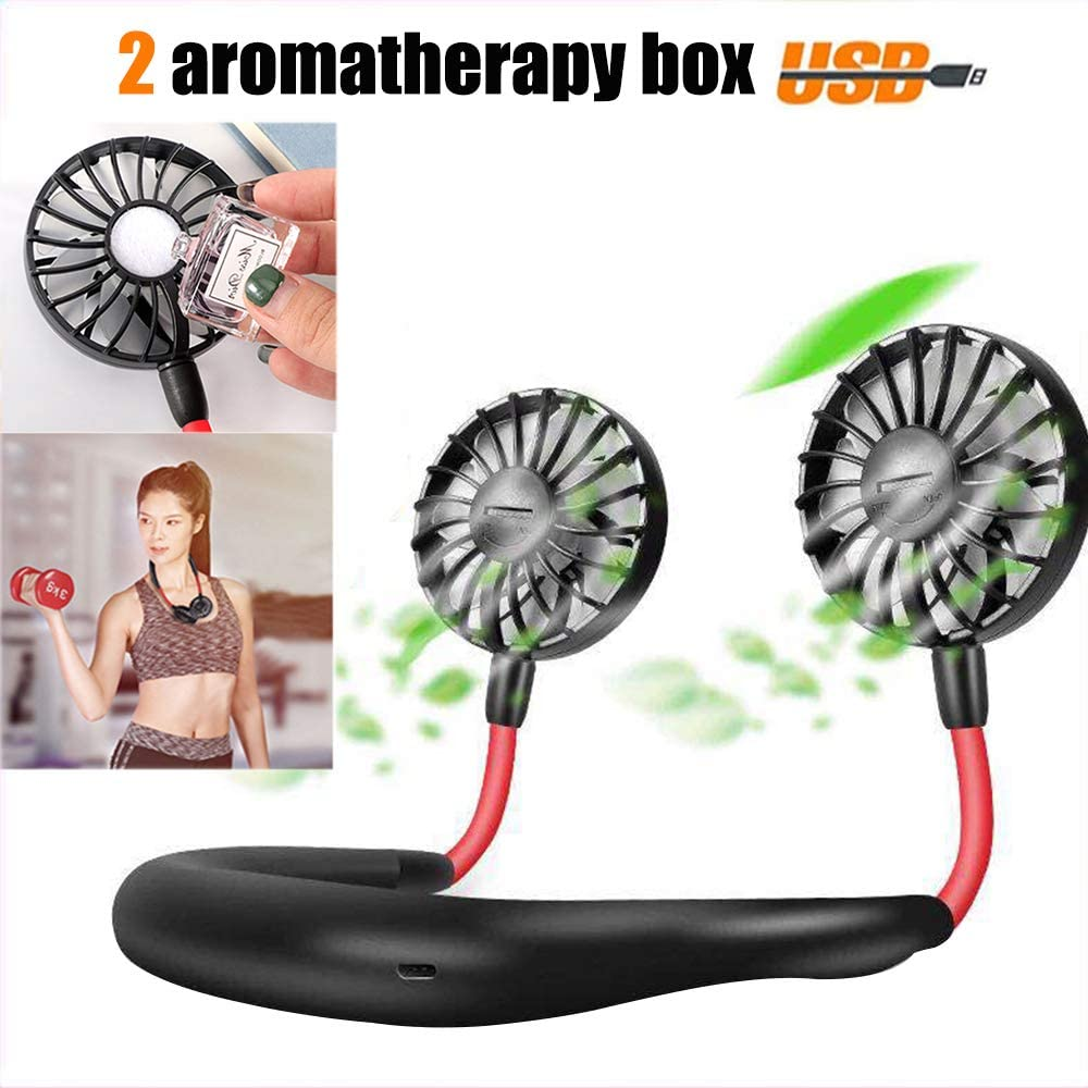 Hand Free Personal Fan USB Battery Rechargeable Portable Mini Aromatherapy Fan-Headphone Design Wearable 360 Degree Free Rotation Perfect for Traveling Camping Office Room Household – Black