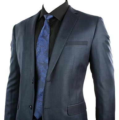 Mens Slim Tailored Fit Suit Shiny Navy Blue 2 Button Stitch Trim ...